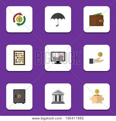 Flat Icon Gain Set Of Parasol, Strongbox, Billfold And Other Vector Objects. Also Includes Abacus, Architecture, Building Elements.