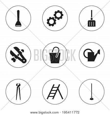 Set Of 9 Editable Tools Icons. Includes Symbols Such As Potato Peeler, Handle , Digging. Can Be Used For Web, Mobile, UI And Infographic Design.