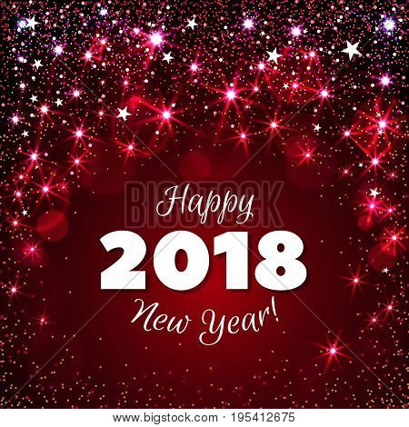 Happy New Year 2018 greeting card. Festive illustration with colorful confetti, party popper and sparkles. Vector