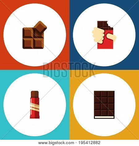 Flat Icon Bitter Set Of Cocoa, Shaped Box, Dessert And Other Vector Objects. Also Includes Chocolate, Box, Dessert Elements.