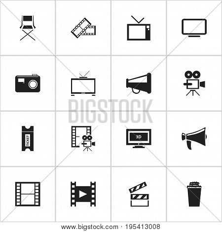 Set Of 16 Editable Movie Icons. Includes Symbols Such As Coupon, Clapper, Movie Reel And More. Can Be Used For Web, Mobile, UI And Infographic Design.
