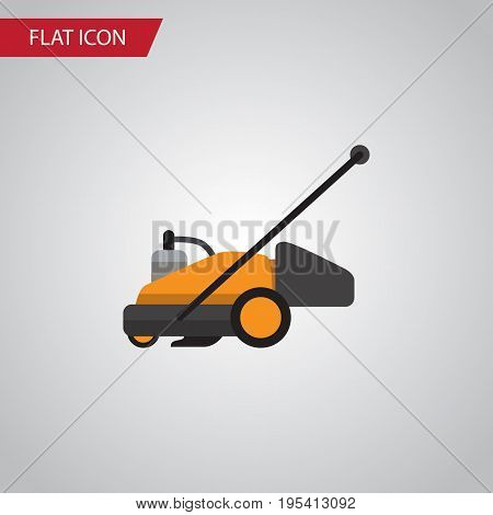 Isolated Grass-Cutter Flat Icon. Lawn Mower Vector Element Can Be Used For Lawn, Mower, Cutter Design Concept.