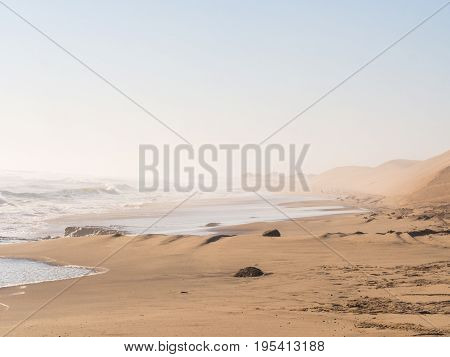 Beach in Sandwich Harbour, Namibia, Africa .