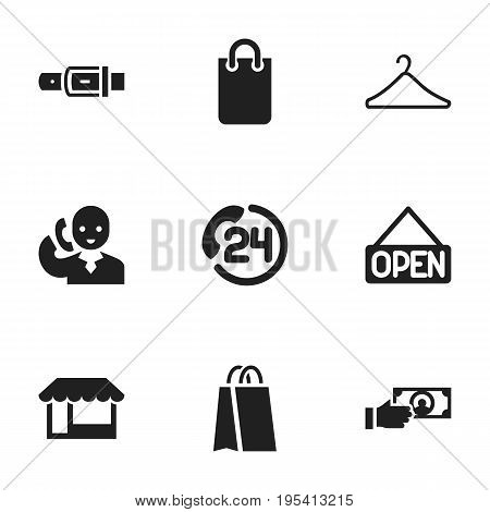 Set Of 9 Editable Shopping Icons. Includes Symbols Such As Payment, Hanger, Explicit And More. Can Be Used For Web, Mobile, UI And Infographic Design.