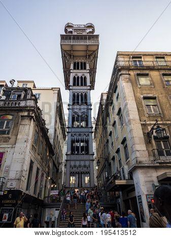 LISBON PORTUGAL - JUNE 13 2017: Santa Justa elevator in downtown of Lisbon Portugal.