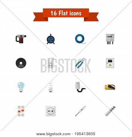 Set Of 16 Editable Instruments Icons. Includes Symbols Such As Lightbulb, Inserting Nails, Rosette And More. Can Be Used For Web, Mobile, UI And Infographic Design.