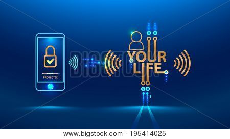 The protection of personal data and privacy in the Internet and social networks. secure wireless communication channel. Vector concept