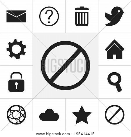 Set Of 12 Editable Web Icons. Includes Symbols Such As Recycle Bin, Home, Mail And More. Can Be Used For Web, Mobile, UI And Infographic Design.