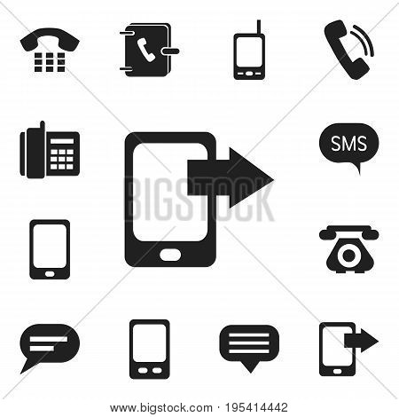 Set Of 12 Editable Gadget Icons. Includes Symbols Such As Radio Talkie, Retro Telecommunication, Home Cellphone And More. Can Be Used For Web, Mobile, UI And Infographic Design.