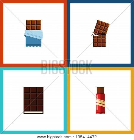 Flat Icon Sweet Set Of Sweet, Bitter, Dessert And Other Vector Objects. Also Includes Sweet, Confection, Wrapper Elements.