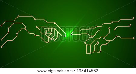 green printed circuit Board - pcb conductors and contact pads in the form of the painting birth of Adam . art vector illustration