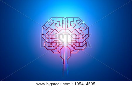 artificial intelligence brain printed circuit Board PCB conductors pads and neural signals on a blue background