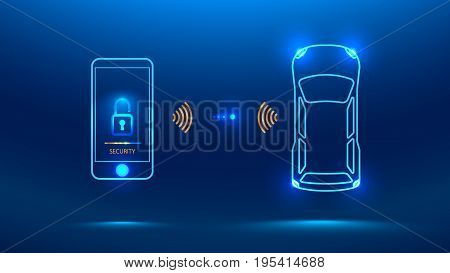 Smart car security system icon. The smartphone controls the car security on the wireless and shows the owner a level of protection of the car Vector illustration concept