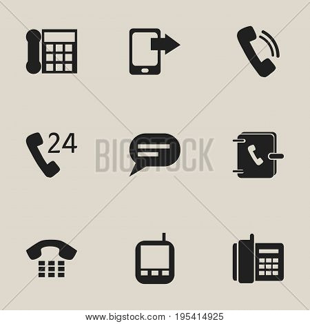 Set Of 9 Editable Gadget Icons. Includes Symbols Such As Comment, 24 Hour Servicing, Talking And More. Can Be Used For Web, Mobile, UI And Infographic Design.
