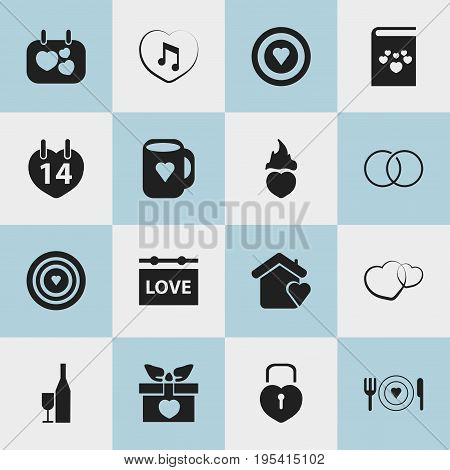 Set Of 16 Editable Love Icons. Includes Symbols Such As Aim, Present, Textbook And More. Can Be Used For Web, Mobile, UI And Infographic Design.