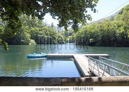 Canoes in a lake moored to a pried surrounded of trees