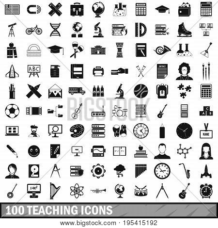 100 teaching icons set in simple style for any design vector illustration