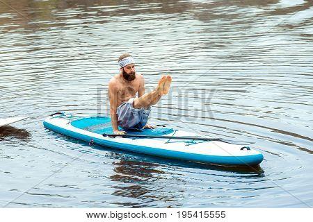 Sup Bearded Man Yoga Meditation 14