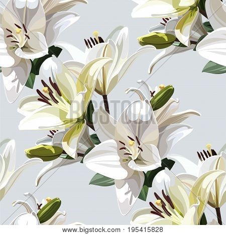 White Flowers of Lily (Madonna Lily). Seamless floral pattern on light background.