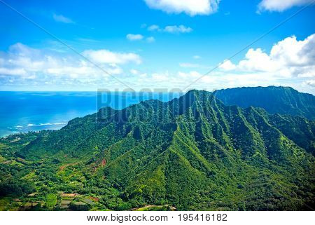 Aerial view of Oahu island in Hawaii