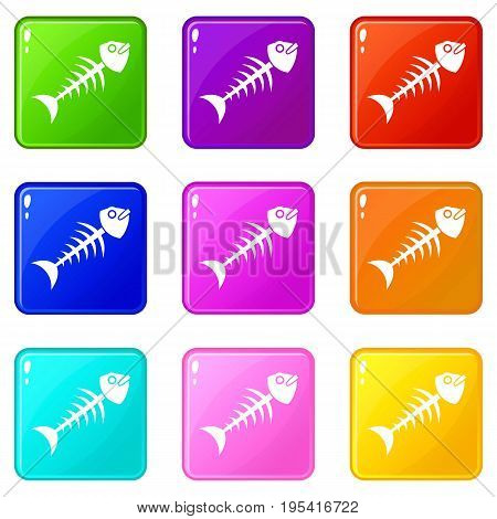 Fish bone icons of 9 color set isolated vector illustration