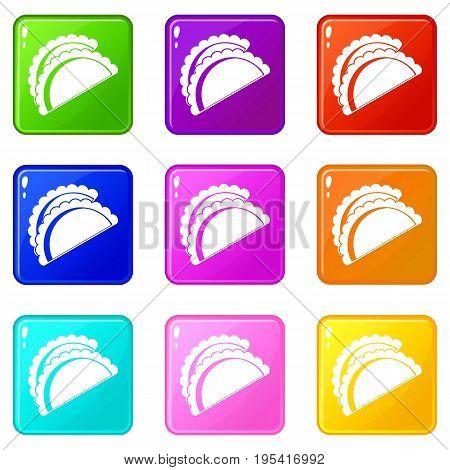 Empanadas de pollo icons of 9 color set isolated vector illustration