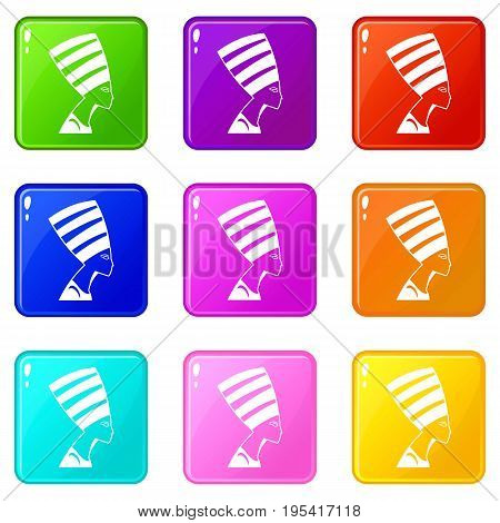 The head of the Egyptian queen icons of 9 color set isolated vector illustration