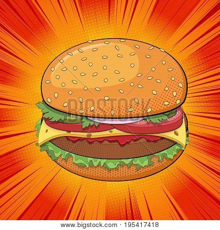 Hamburger pop art style comic background. Fast food restaurant business. Vector illustration.