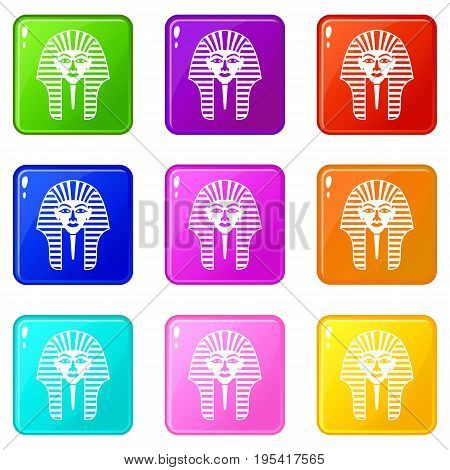 Tutankhamen mask icons of 9 color set isolated vector illustration