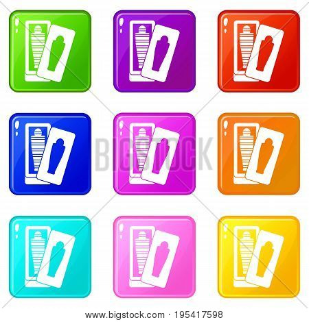 Mummy in sarcophagus icons of 9 color set isolated vector illustration