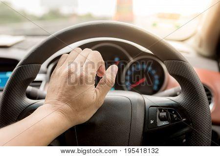 Hand Beeping car driver among traffic jam poster