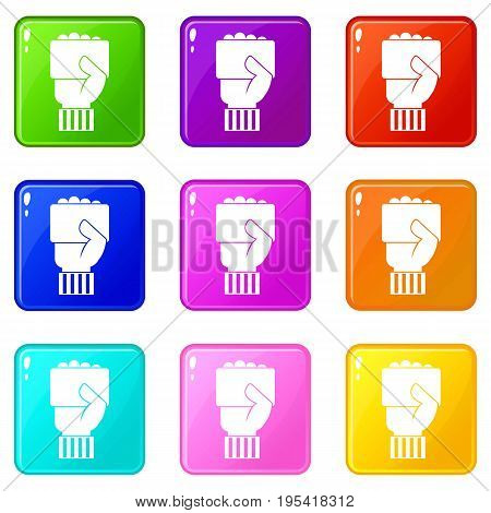 Hand of soccer referee showing card icons of 9 color set isolated vector illustration