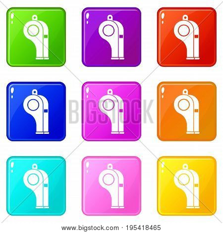 Whistle icons of 9 color set isolated vector illustration