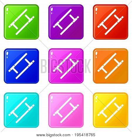 Tonfa icons of 9 color set isolated vector illustration