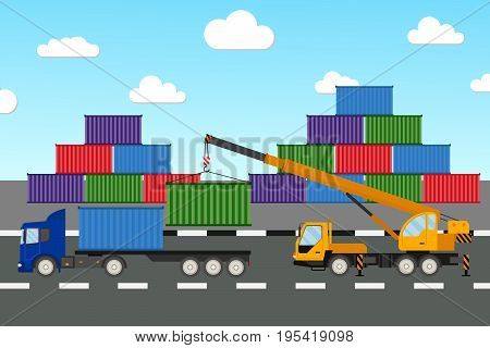 Truck crane and truck. Crane unloads the truck. Crane unloads shipping container. Vector icons mobile crane and truck.