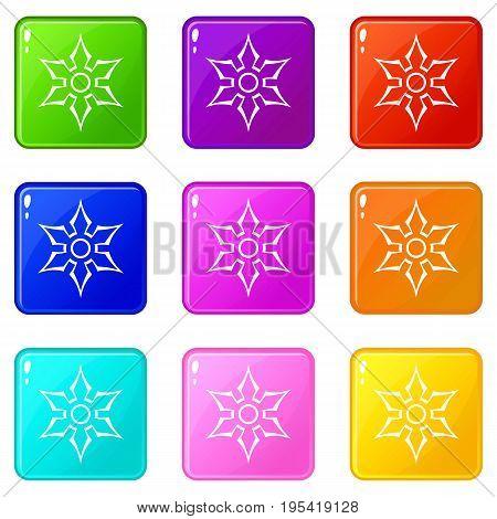 Ninja shuriken star weapon icons of 9 color set isolated vector illustration