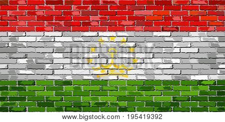 Flag of Tajikistan on a brick wall - Illustration
