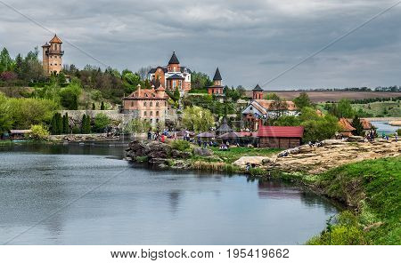 BUKY KIEV REGION UKRAINE - MAY 02 2015: Landscape park in the village Buky in Skvirsky district. It is built by businessman Ivan Suslov. The park on the river Rastavitsa is an object of tourism.