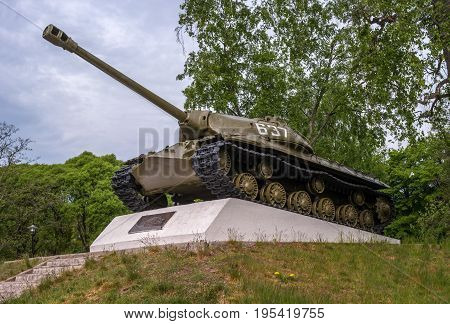 Priozersk, Republic of Karelia, Russia - June 12, 2017: a monument to the heavy IS-3 tank - Josef Stalin - 3. This combat vehicle is often considered one of the first post-war Soviet tanks.