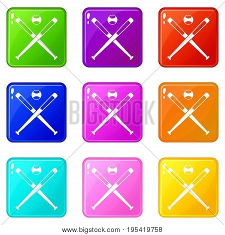 Crossed baseball bats and ball icons of 9 color set isolated vector illustration