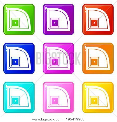 Baseball field icons of 9 color set isolated vector illustration