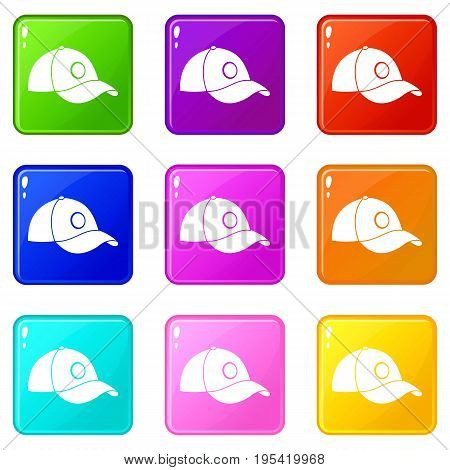 Cap icons of 9 color set isolated vector illustration