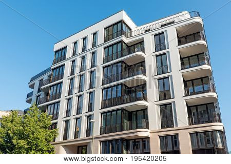 Modern luxury apartment house seen in Berlin, Germany