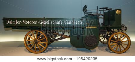 STUTTGART GERMANY- MARCH 19 2016: A truck Daimler Motor-Lastwagen 1898. Mercedes-Benz Museum.