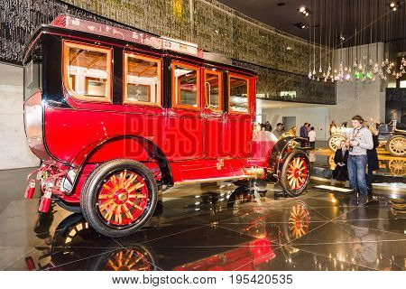 STUTTGART GERMANY- MARCH 19 2016: Vintage car Mercedes-Simplex 60 PS Touring Limousine 1904. Mercedes-Benz Museum.