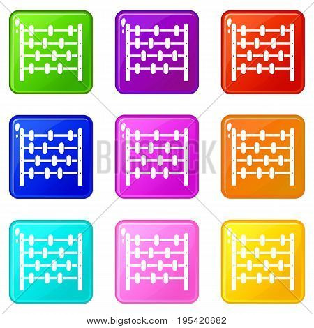 Children abacus icons of 9 color set isolated vector illustration