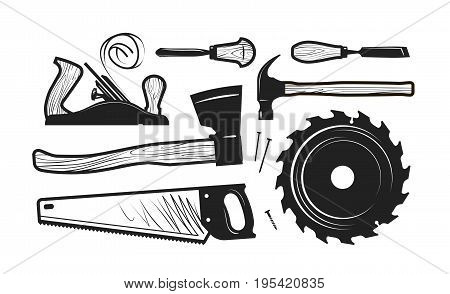 Carpentry, joinery icons. Set of tools such as axe, hacksaw, hammer, planer, disc circular saw, cutters. Vector illustration isolated on white background