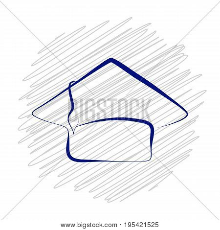 Blue graduation cap on scribbled background. Hand-drawn graduation hat vector isolated. Ink pen doodle student cap. Graduation day celebration symbol. Calligraphic scholar hat stamp icon or logo