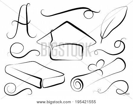 Graduation cap and education element in calligraphy style. Graduation day vector clipart. Student cap diploma book feather grade A. Vintage border elements and separators. Graduation day design