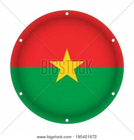 round metallic flag of Burkina Faso with six screw holes in front of a white background